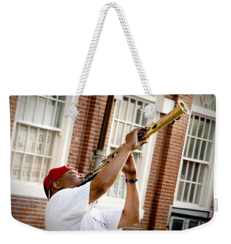 Jazz Weekender Tote Bag featuring the photograph City Jazz by Greg Fortier