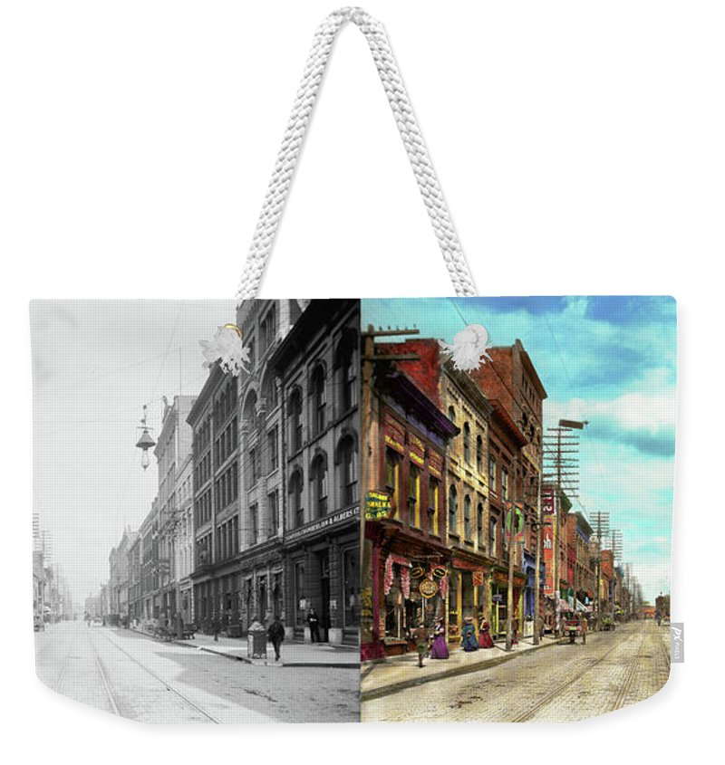 Self Weekender Tote Bag featuring the photograph City - Knoxville Tn - Gay Street 1903 - Side By Side by Mike Savad