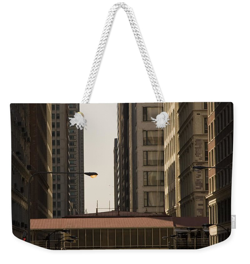 Chicago Windy City Street Trafic Bus People Building Skyscraper Metro Urban Weekender Tote Bag featuring the photograph City Life by Andrei Shliakhau