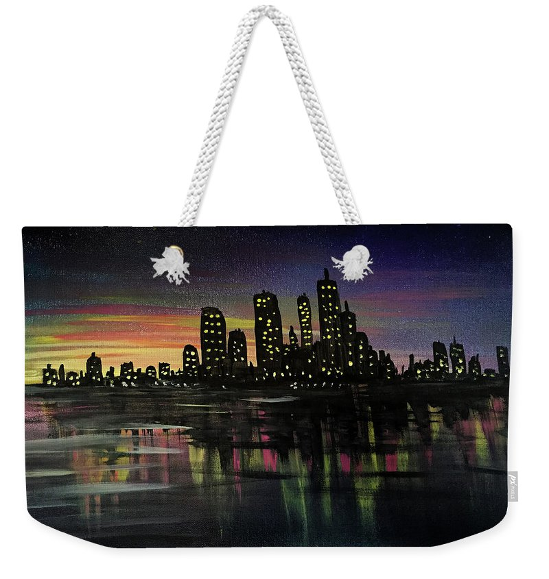 City Weekender Tote Bag featuring the painting City Lights by Adam Santana