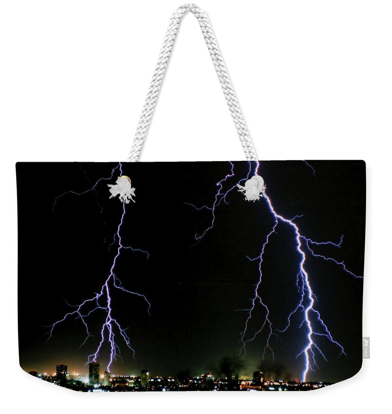 Arizona Weekender Tote Bag featuring the photograph City Lights by Cathy Franklin