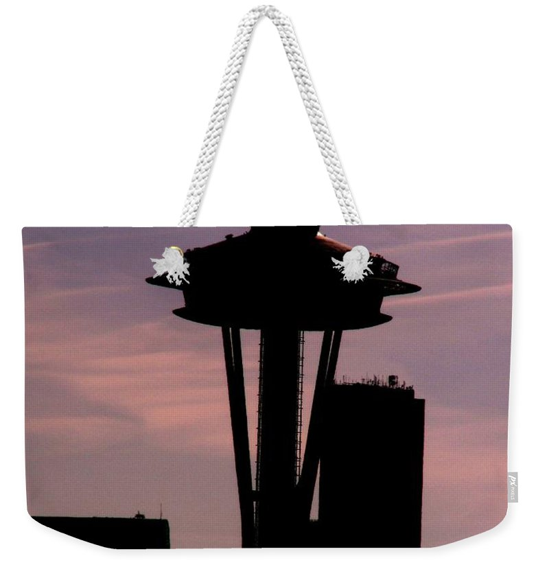 Seattle Weekender Tote Bag featuring the digital art City Needle by Tim Allen