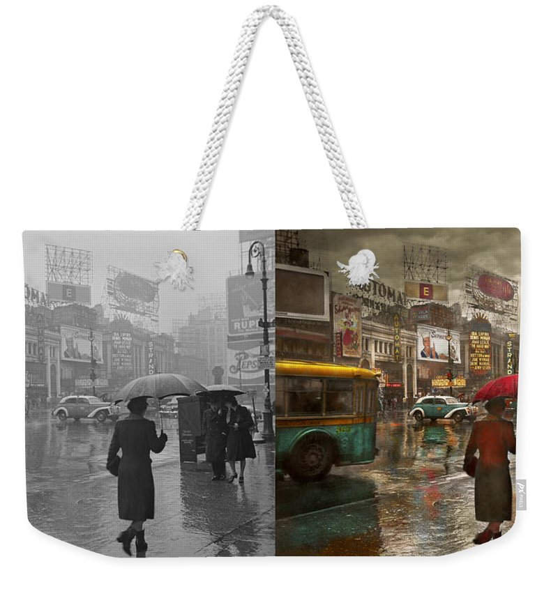 New York Weekender Tote Bag featuring the photograph City - Ny - Times Square On A Rainy Day 1943 Side By Side by Mike Savad
