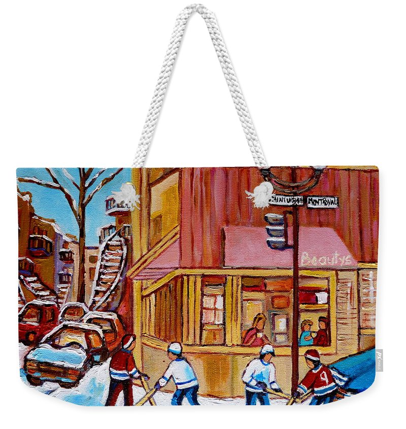 Montreal Weekender Tote Bag featuring the painting City Of Montreal St. Urbain And Mont Royal Beautys With Hockey by Carole Spandau