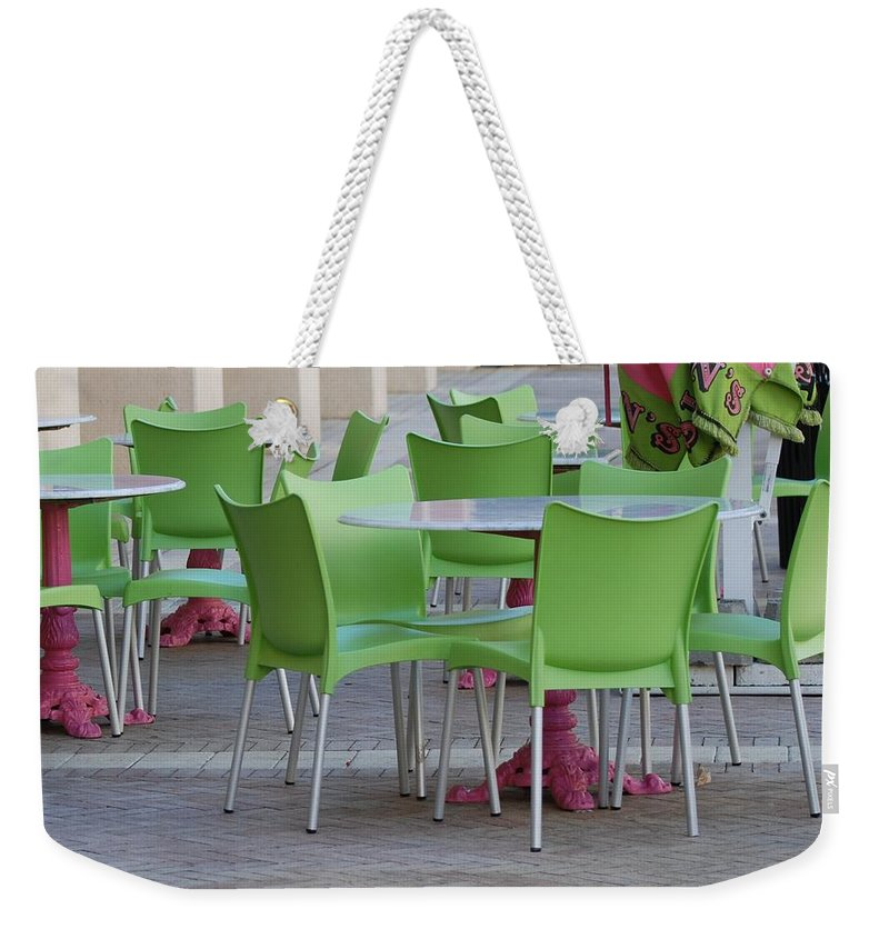 Chairs Weekender Tote Bag featuring the photograph City Place Seats by Rob Hans