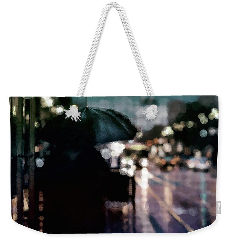 Rain In The City Weekender Tote Bag featuring the mixed media City Rain by Susan Maxwell Schmidt