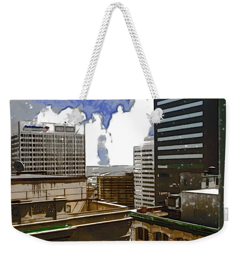 City Weekender Tote Bag featuring the photograph City Skies by Paulette B Wright