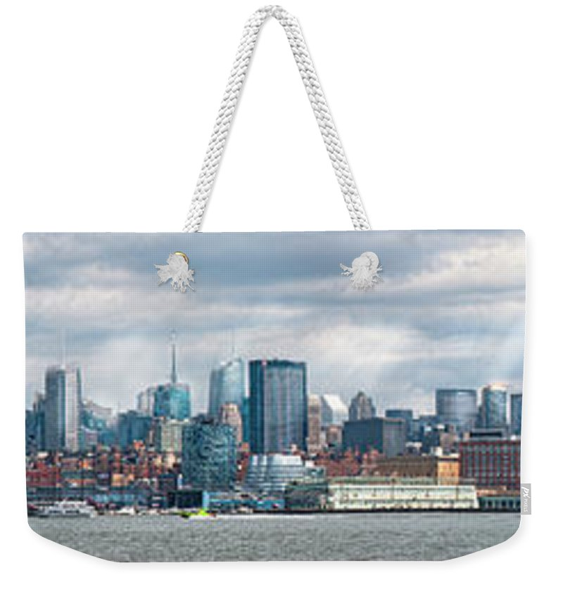 New York Weekender Tote Bag featuring the photograph City - Skyline - Hoboken Nj - The Ever Changing Skyline by Mike Savad