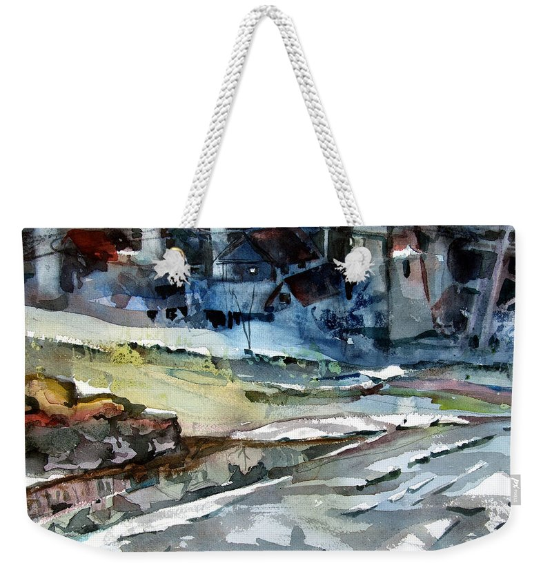 Winter Weekender Tote Bag featuring the painting City Snow Melts by Mindy Newman