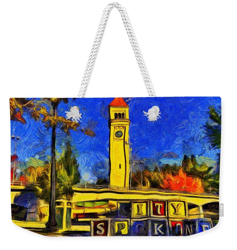 Spokane Weekender Tote Bag featuring the digital art City Spokane - Riverfront Park by Mark Kiver