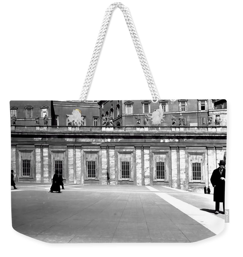 Weekender Tote Bag featuring the photograph City Square Vintage Black And White by Cathy Anderson