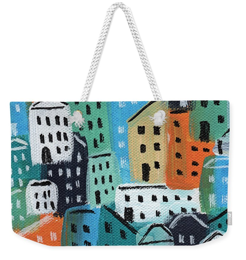 City Weekender Tote Bag featuring the painting City Stories- Blue And Orange by Linda Woods