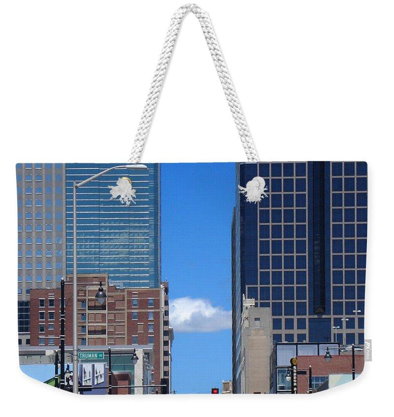 Kansas City Weekender Tote Bag featuring the photograph City Street Canyon by Steve Karol