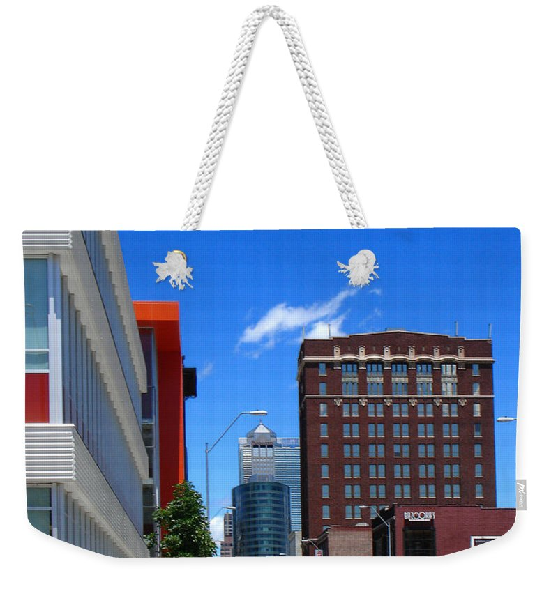 Kansas City Weekender Tote Bag featuring the photograph City Street by Steve Karol