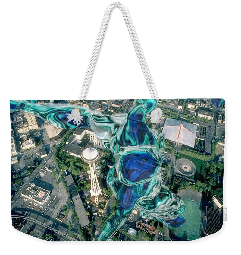 Seattle Weekender Tote Bag featuring the photograph City Strollin by Tim Allen