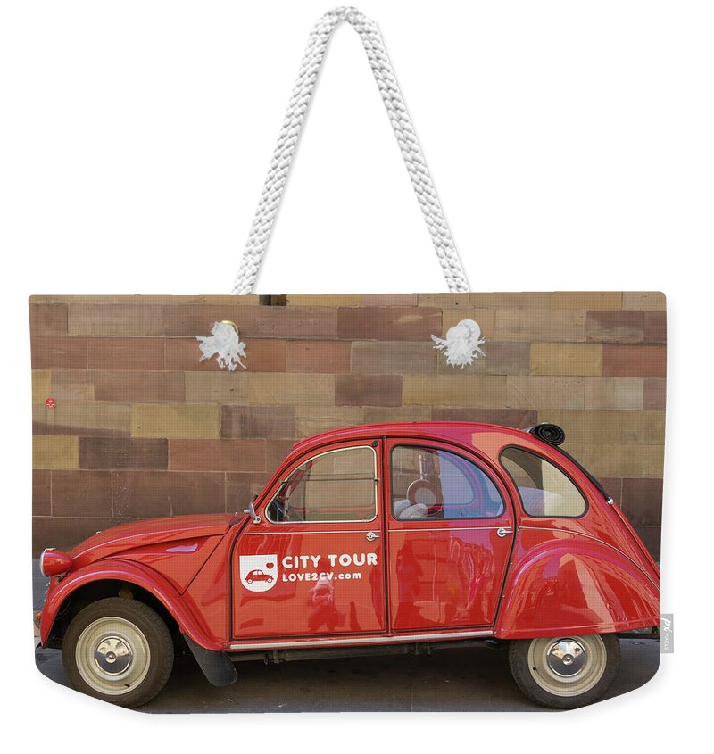 Alsace Weekender Tote Bag featuring the photograph City Tour Car Strasbourg France by Teresa Mucha