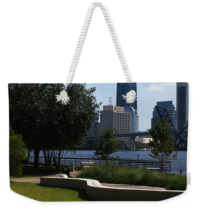 Art For The Wall...patzer Photography Weekender Tote Bag featuring the photograph City Way by Greg Patzer