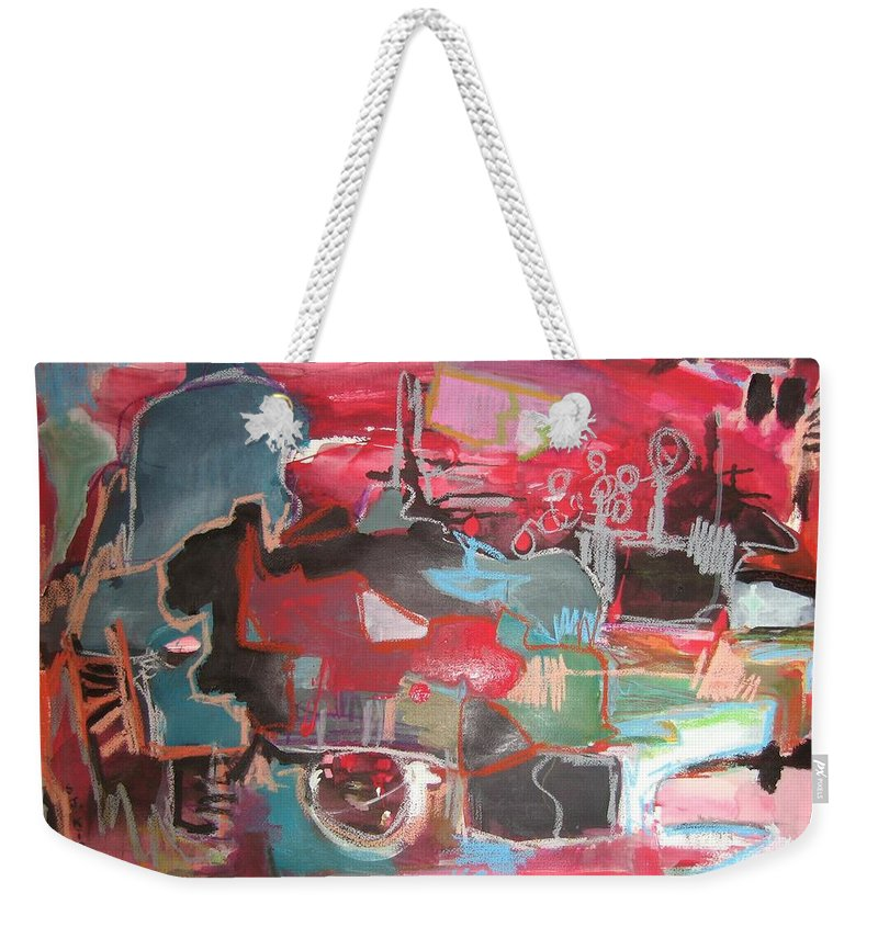 Abstract Paintings Weekender Tote Bag featuring the painting Citysacpe At Twilight Original Abstract Colorful Landscape Painting For Sale Red Blue by Seon-Jeong Kim