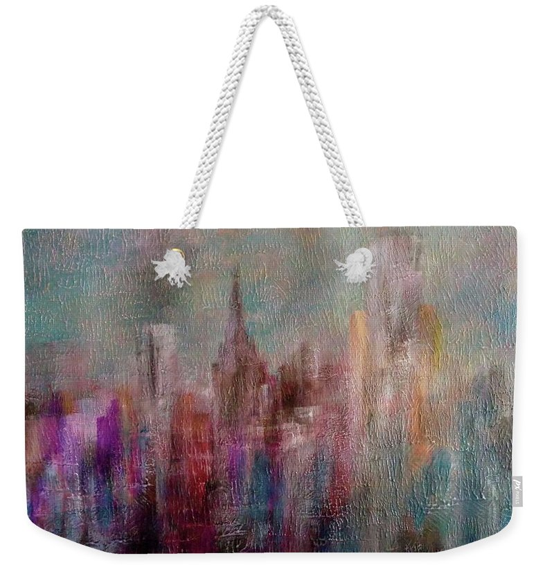 Weekender Tote Bag featuring the painting Cityscape by Anthony Camilleri
