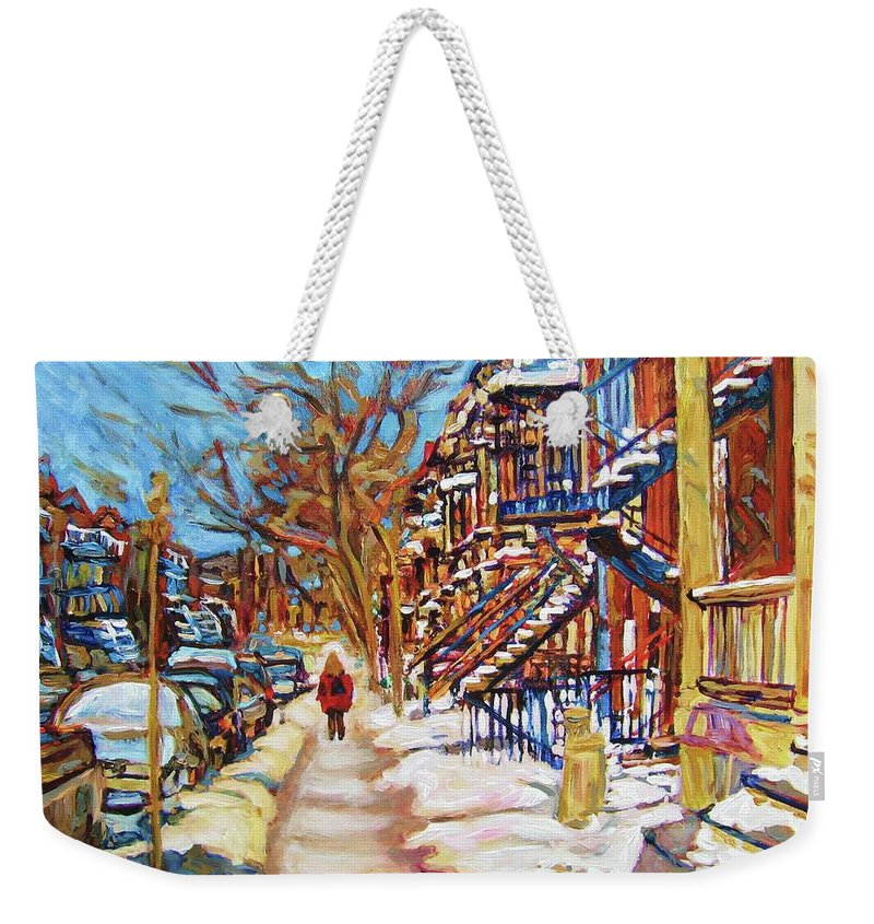 Montreal Weekender Tote Bag featuring the painting Cityscene In Winter by Carole Spandau