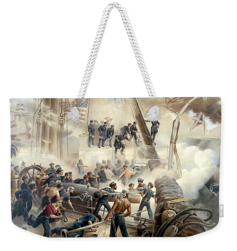 Civil War Weekender Tote Bag featuring the painting Civil War Naval Battle by War Is Hell Store