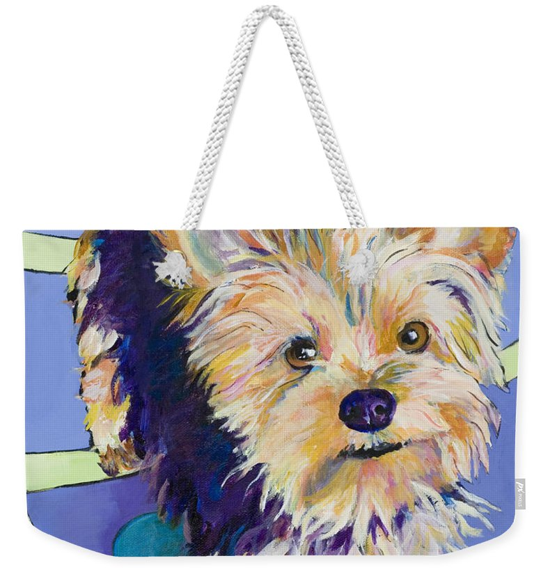 Pet Portraits Weekender Tote Bag featuring the painting Claire by Pat Saunders-White