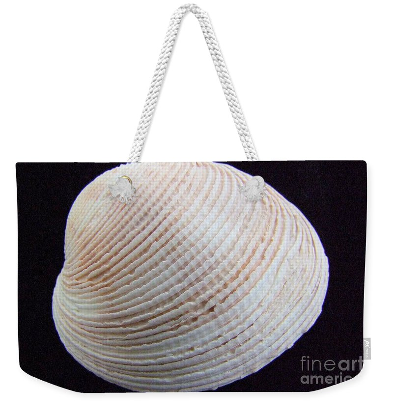 White Weekender Tote Bag featuring the photograph Clam Shell by Mary Deal