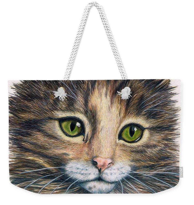 Cat Weekender Tote Bag featuring the drawing Clarice by Kristen Wesch