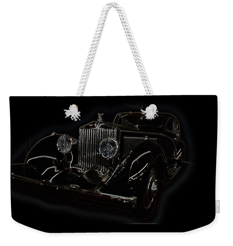 Classic Car Antique Show Room Vehicle Glowing Edge Black Light Chevy Dodge Ford Ride Weekender Tote Bag featuring the photograph Classic 3 by Andrea Lawrence