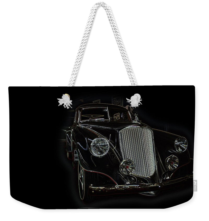 Classic Car Antique Show Room Vehicle Glowing Edge Black Light Chevy Dodge Ford Ride Weekender Tote Bag featuring the photograph Classic 4 by Andrea Lawrence