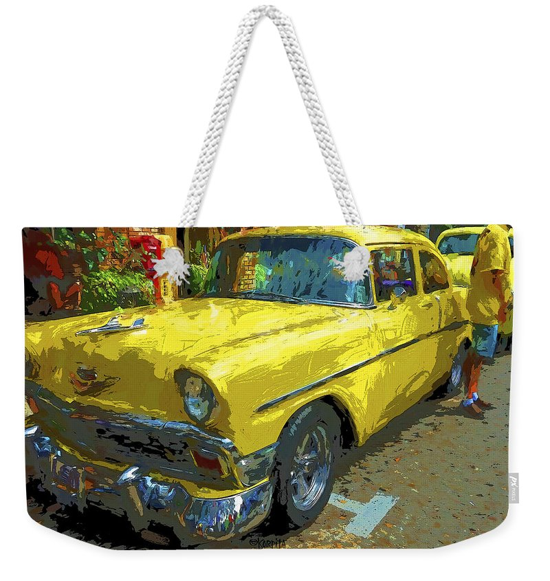 Classic 56 Chevy Car Weekender Tote Bag featuring the photograph Classic 56 Chevy Car Yellow by Rebecca Korpita