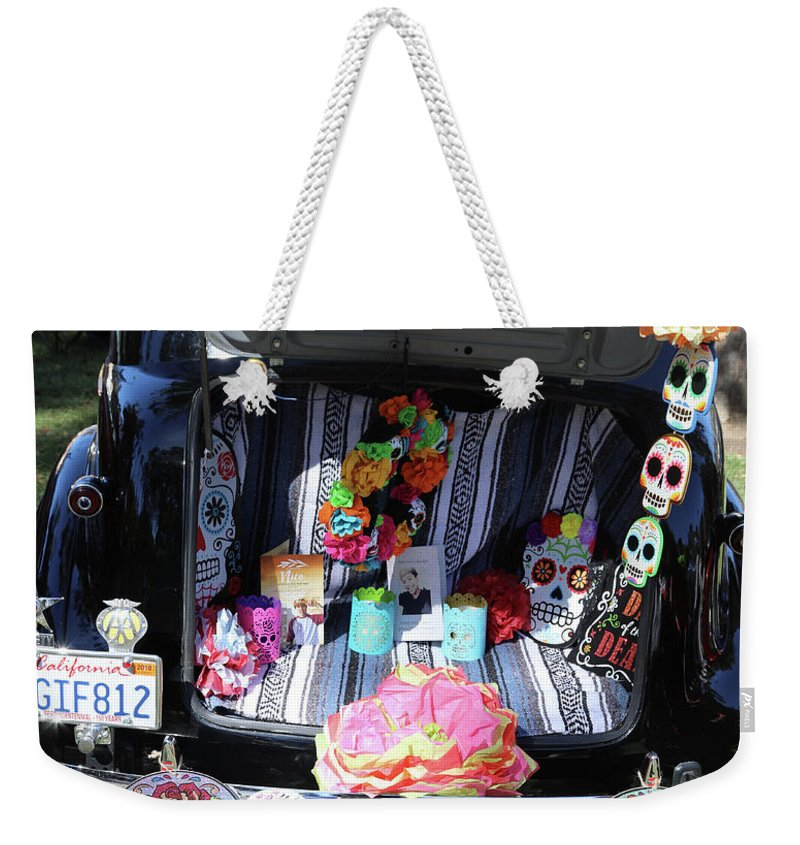 Dia De Los Muertos Weekender Tote Bag featuring the photograph Classic Car Day Of Dead Decor Trunk by Chuck Kuhn