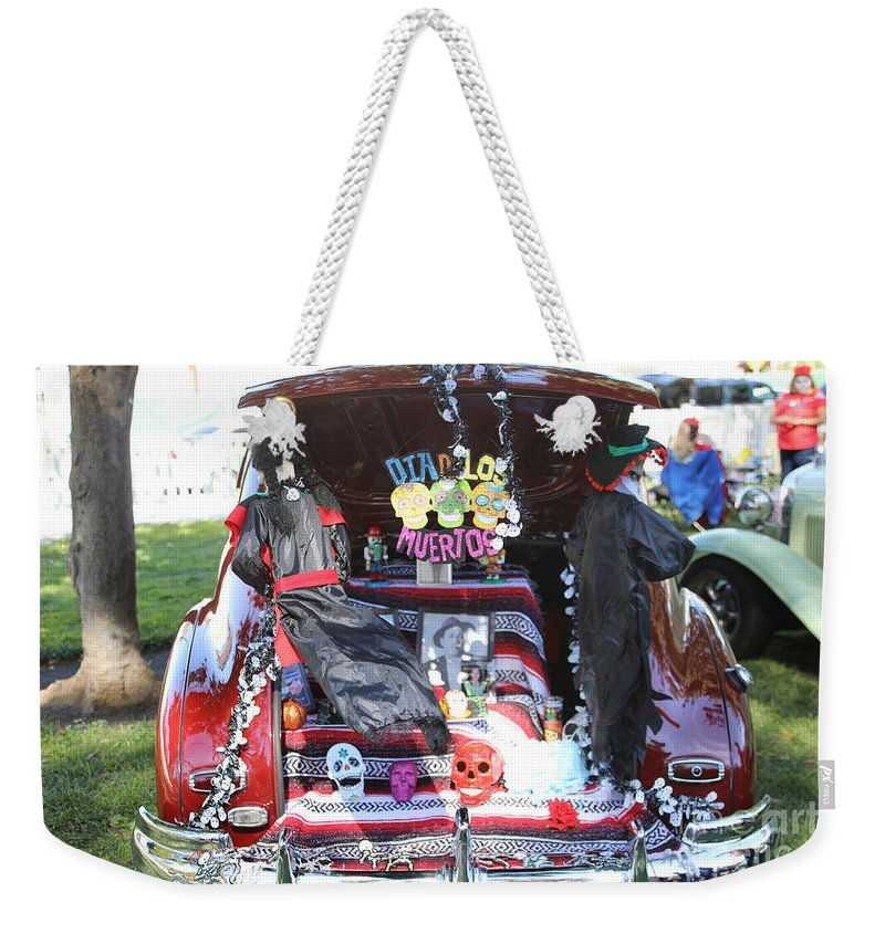 Dia De Los Muertos Weekender Tote Bag featuring the photograph Classic Car Decor Day Of The Dead by Chuck Kuhn