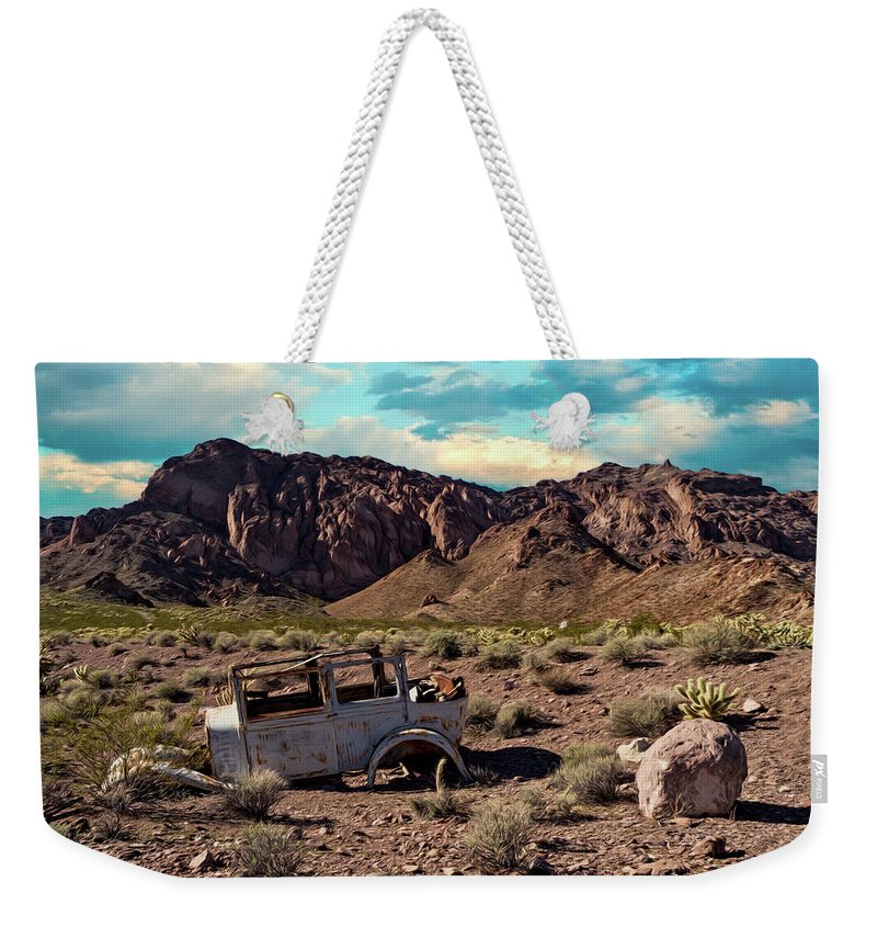 Color Weekender Tote Bag featuring the photograph Classic Car Graveyard 2 by Alan Kepler