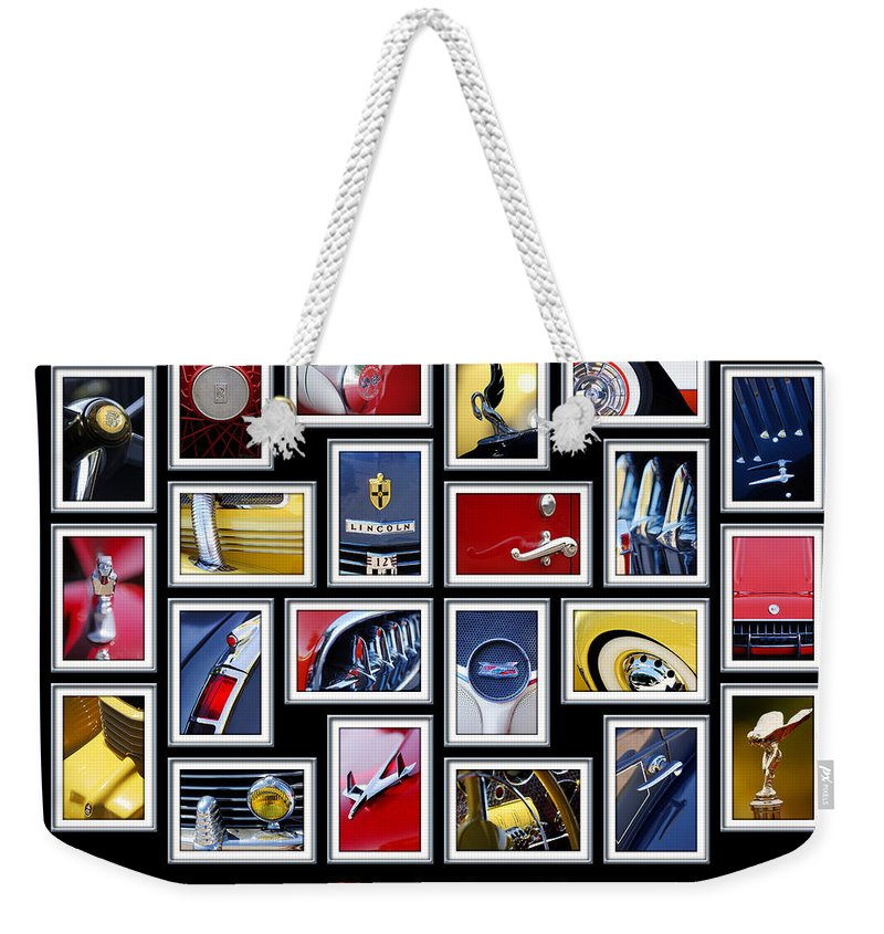 Classic Cars Weekender Tote Bag featuring the photograph Classic Car Montage Art 1 by Jill Reger