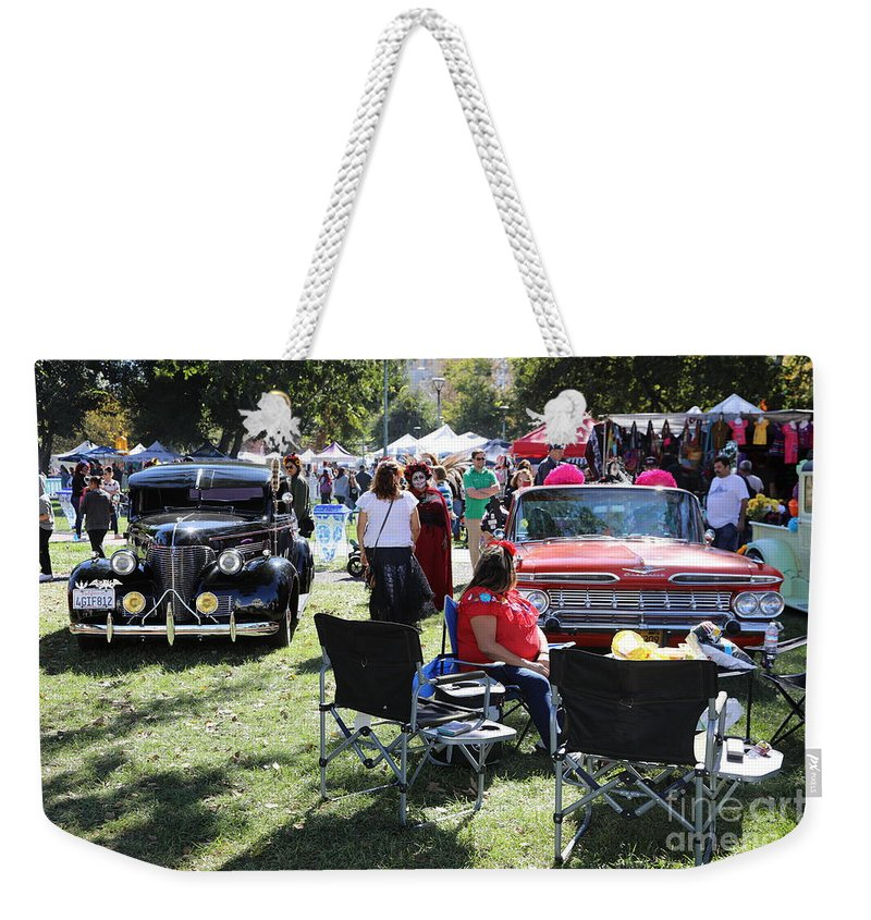 Dia De Los Muertos Weekender Tote Bag featuring the photograph Classic Cars Day Of The Dead II by Chuck Kuhn