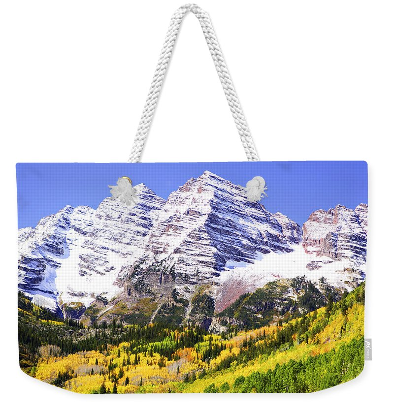 Americana Weekender Tote Bag featuring the photograph Classic Maroon Bells by Marilyn Hunt