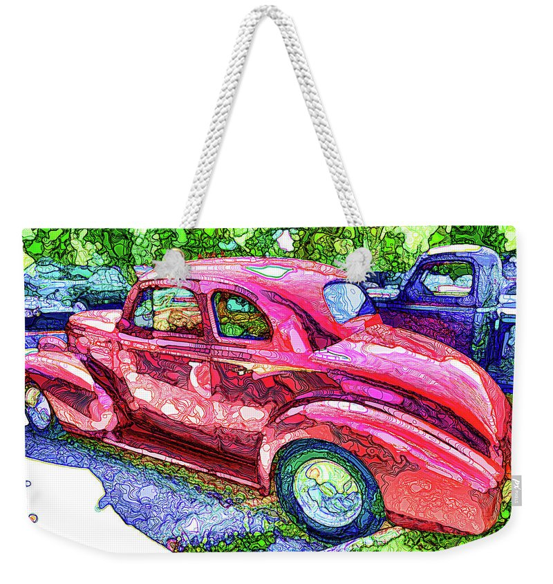 Red Retro Car Weekender Tote Bag featuring the painting Classic Red Vintage Car by Jeelan Clark
