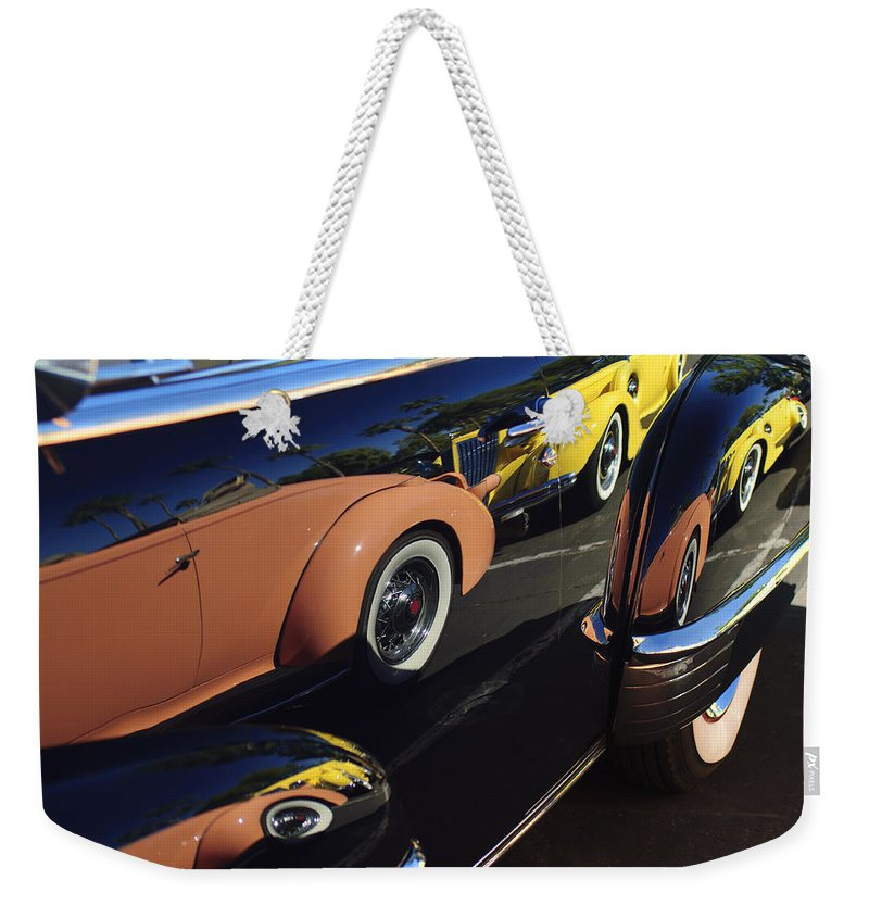 1935 Packard Weekender Tote Bag featuring the photograph Classic Reflections by Jill Reger
