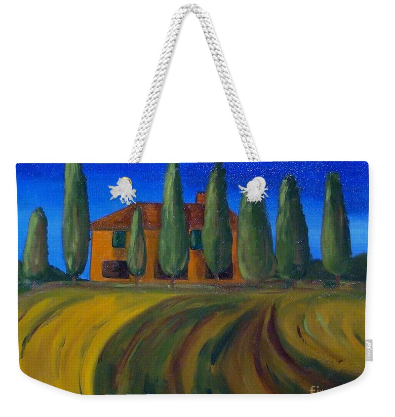Tuscany Weekender Tote Bag featuring the painting Classic Tuscan Sunset by Laurie Morgan