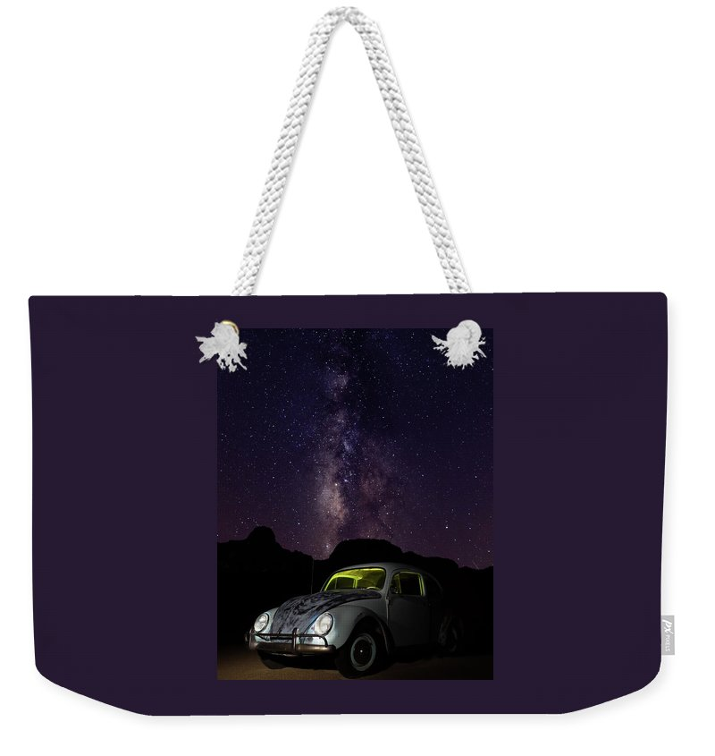 Classic Car Weekender Tote Bag featuring the photograph Classic Vw Bug Under The Milky Way by James Sage