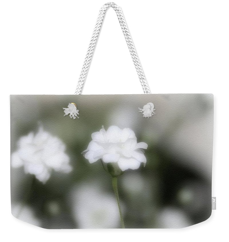 Flowers Weekender Tote Bag featuring the photograph Classic White by Linda Sannuti