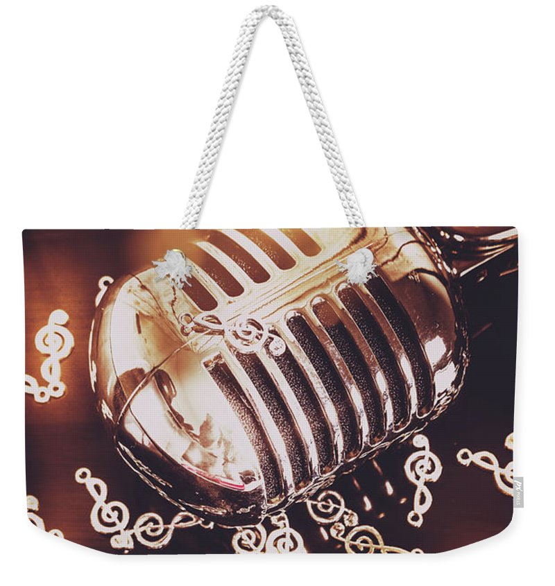 Microphone Weekender Tote Bag featuring the photograph Classics At The Audio Hall by Jorgo Photography - Wall Art Gallery