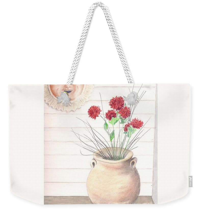 Clay Pot Weekender Tote Bag featuring the drawing Clay Pot by Jayne Somogy