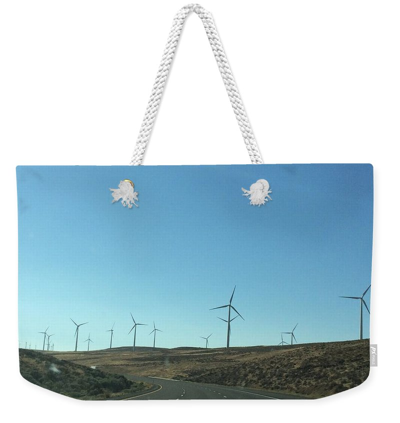 Clean Weekender Tote Bag featuring the photograph Clean Energy On The Open Road by Megan Thompson