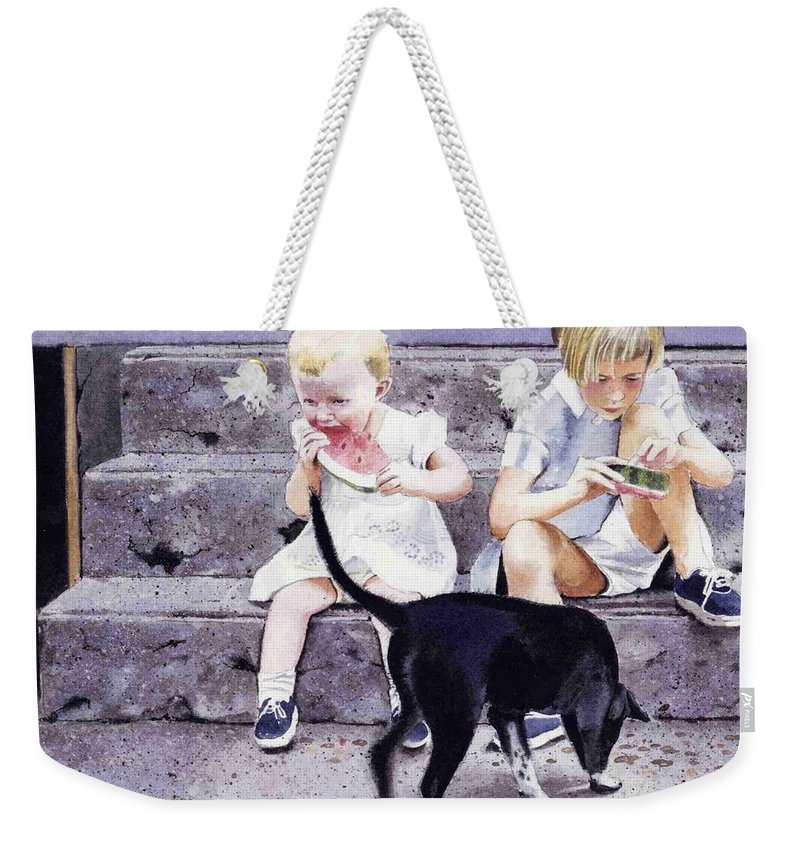 Children Weekender Tote Bag featuring the painting Cleaning Up by Denny Bond