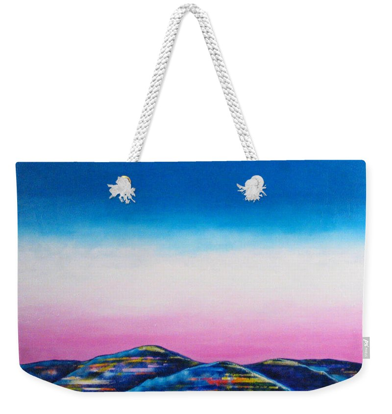 Sky Weekender Tote Bag featuring the painting Clear Day by Rollin Kocsis