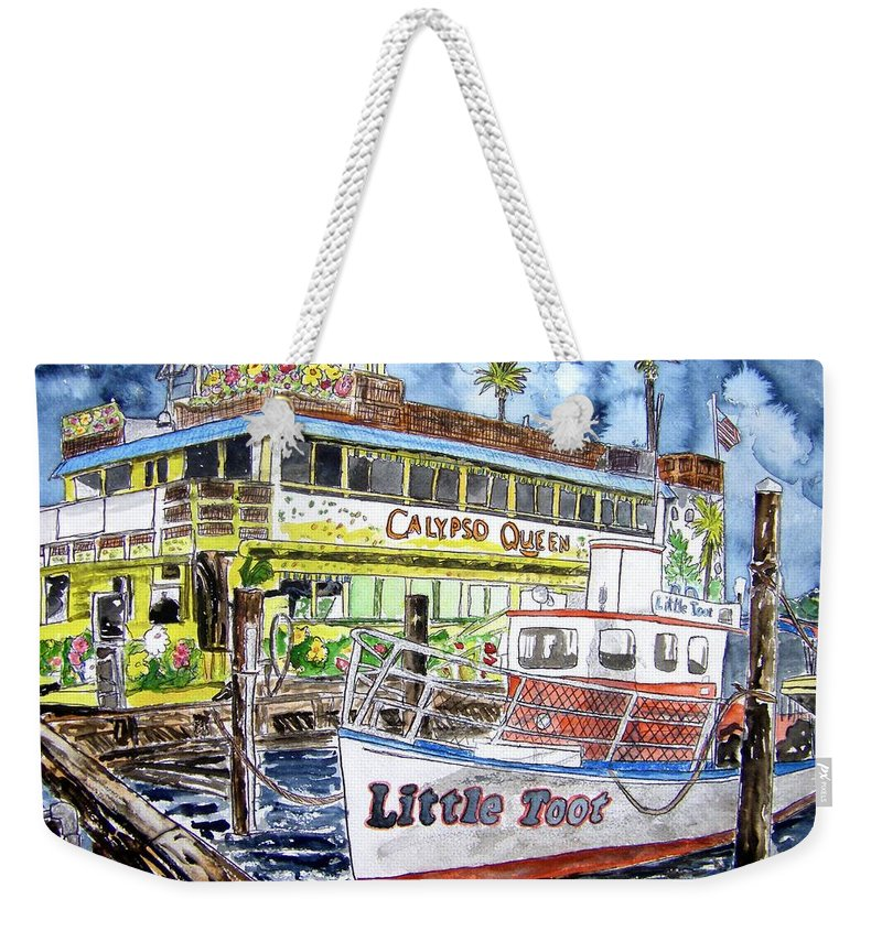 Seascape Weekender Tote Bag featuring the painting Clearwater Florida Boat Painting by Derek Mccrea
