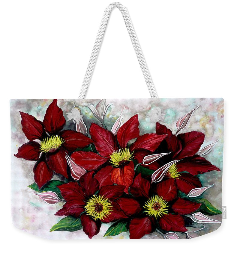 Flower Painting Floral Painting Red Painting Botanical Painting Clematis Painting Greeting Card Painting Flower Vine Painting Weekender Tote Bag featuring the painting Clematis Niobe by Karin Dawn Kelshall- Best