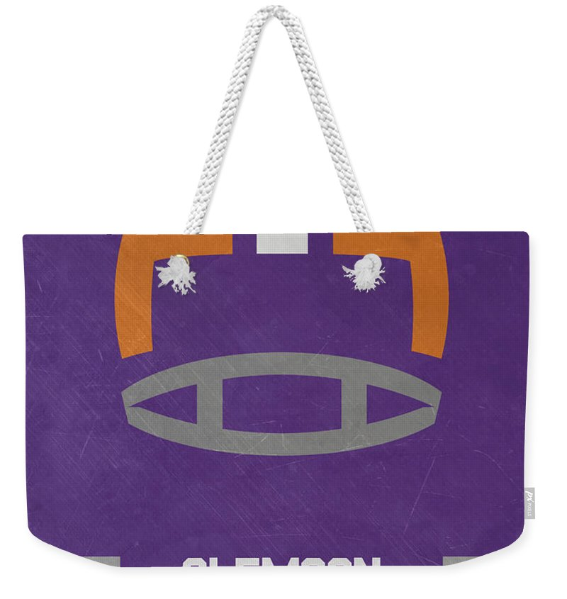 Tigers Weekender Tote Bag featuring the mixed media Clemson Tigers Vintage Football Art by Joe Hamilton